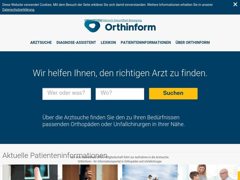 Screenshot von www.orthinform.de